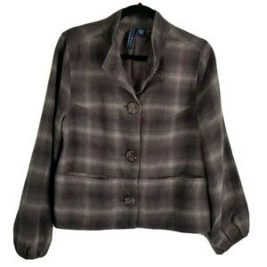 ASHLEY JUDD BROWN PLEATED SLEEVE JACKET SIZE SMALL